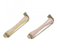 Коклюшки 6,5 мм короткие бело-розовые, 12 штук в упаковке