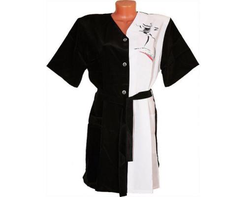 Халат для парикмахера ПРОФИ чёрно-белый, 5960123 XL