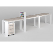 Трёхместный маникюрный стол Matrix с подставкой для лаков и тумбой