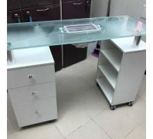 Р19 стол маникюрный с вытяжкой, стеклянная столешница