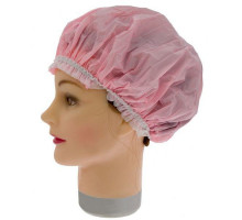 Шапочка для душа розовая с белой резинкой