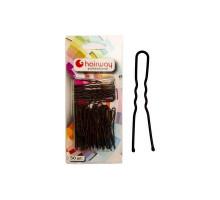 Шпильки Hairway 45 мм черные волнистые 50 шт/уп